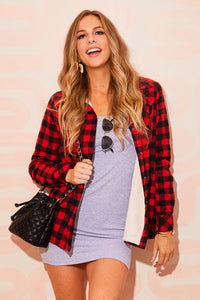 Sherpa Lined Plaid Shirt Jacket