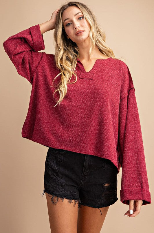 V-Neck Long Sleeve Casual Top