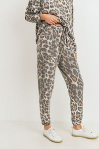 Brushed Leopard Print Knit Joggers