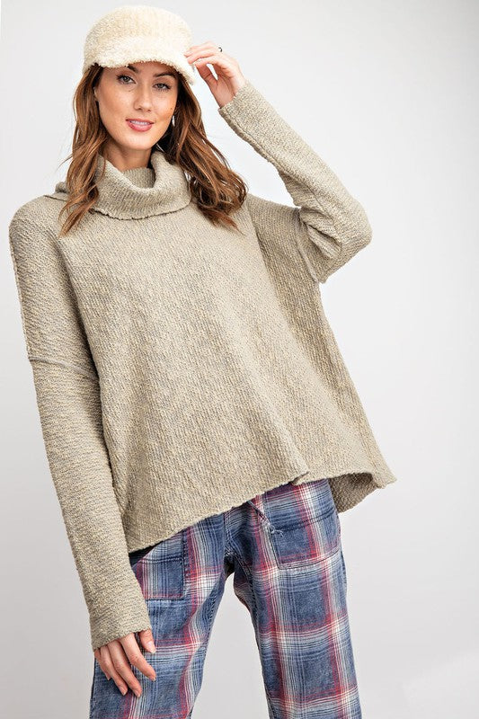 Olive Textured Cowl Neck Sweater