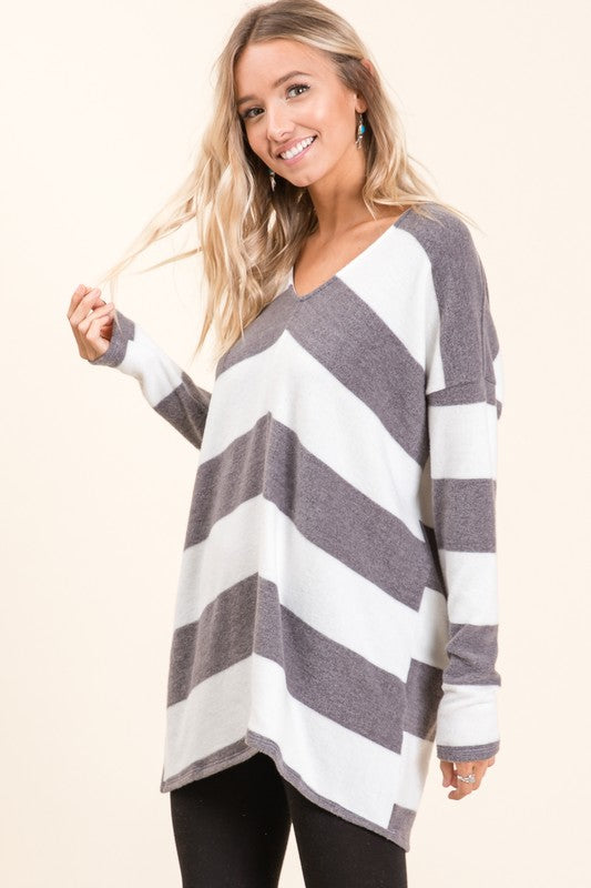 Heather Grey Striped Hacci Striped V-Neck Sweater (Shown in Charcoal Striped)
