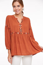 Rust Embroidered Top