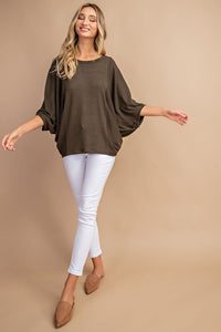 Olive Hacci Dolman Sleeve Top