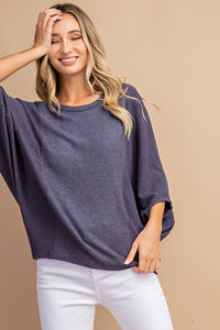 Navy Hacci Dolman Sleeve Top