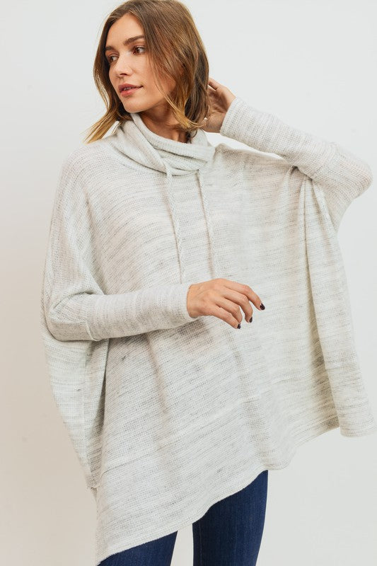 Brushed Marbled Knit Drawstring Neck Top