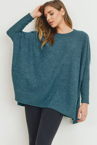 Hunter Green Brushed Knit Top