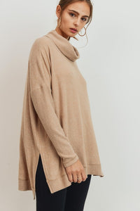 Brushed Knit Open Side Turtleneck Top