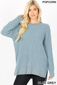 Popcorn Sweater (Blue Grey, Navy, and Light Green)