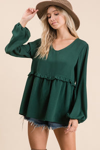 Hunter Green Babydoll Top