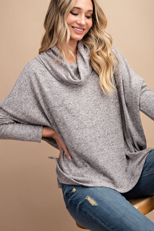Oatmeal Hacci Cowl Neck Sweater