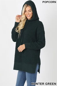 Hunter Green Hooded Popcorn Sweater