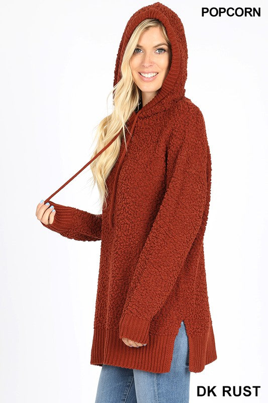 Dark Rust Hooded Popcorn Sweater
