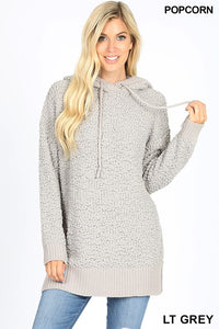 Light Grey Hooded Popcorn Sweater