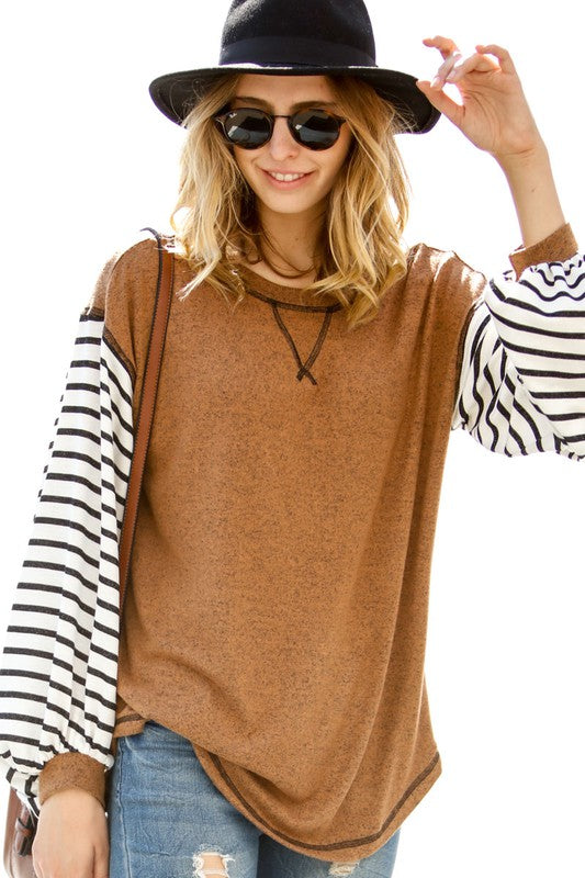 Striped Sleeve Contrast Top (Available 12/4)
