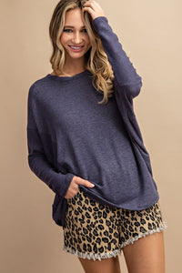 Navy Hacci Dolman Long Sleeve Top