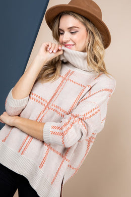 Plaid Turtleneck Sweater