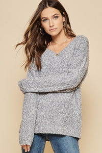Cream V-Neck Sweater (shown in grey)