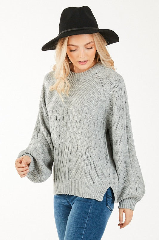 H. Grey Cable Knit Sweater