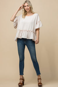 Ruffle Scoop-Neck Top