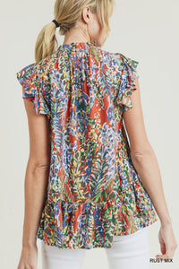 Watercolor Floral Print Ruffle Top