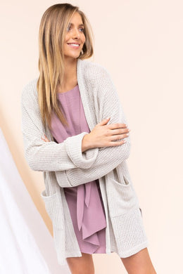 Long Sleeve Knit Cardigan With Pockets