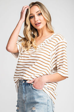 Taupe and White Striped Top