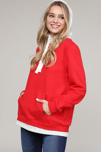 Red Layered Hoodie
