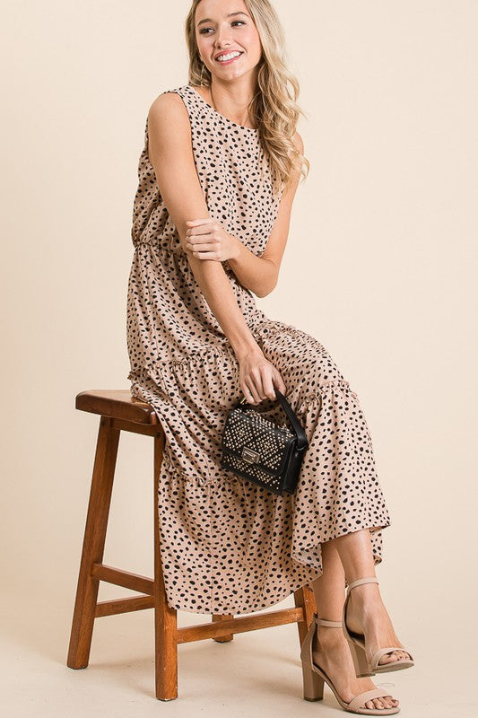 Leopard Print Lined Midi Dress