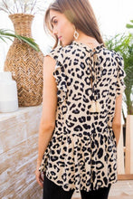 Ruffle Sleeveless Leopard Print Top