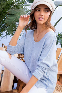 Blue Hi Lo Sweater