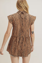 Leopard Flutter Sleeve Top