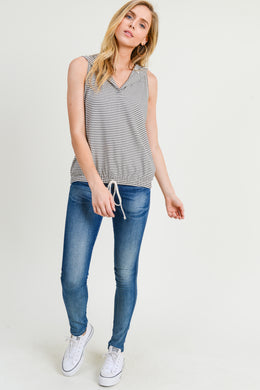 Sleeveless Hooded Striped Top