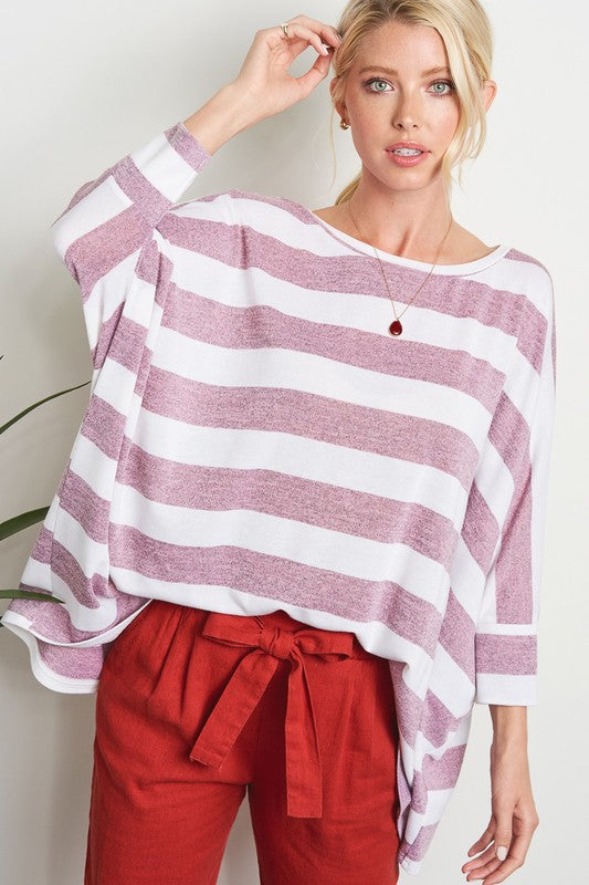 Soft Striped Berry Top