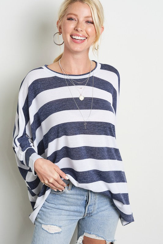 Soft Striped Navy Top
