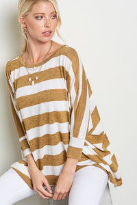 Soft Striped Mustard Top