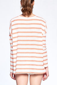 Orange and White Striped Waffle Top