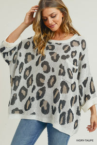 Copy of Oversized Leopard Print Pocket Pullover