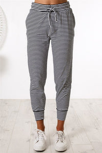 Black Striped Casual Joggers