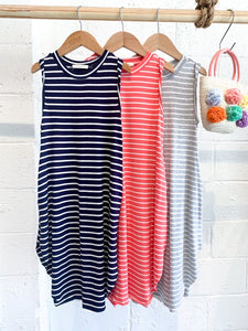 Kids Navy Striped Maxi