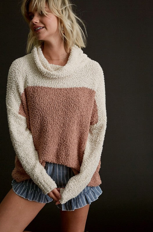 Popcorn Color Block Pullover Sweater