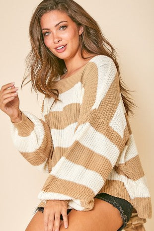 Cream/Beige Striped Sweater