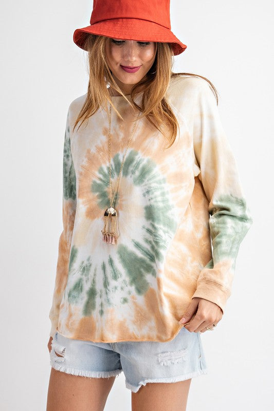 Tie-Dye Terry Knit Pullover