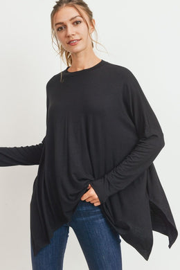 Black Side Slit Boxy Top