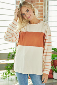 Cream and Rust Striped Top