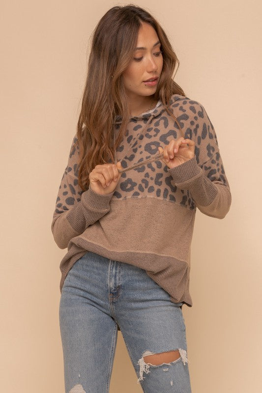 Leopard Mixed Hoodie Pullover