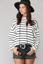 White and Black Striped Sweater