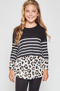 Kids Leopard Striped Top