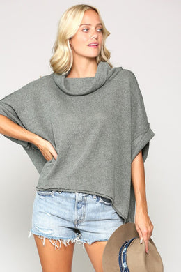 Faded Olive Cowl Neck Sweater