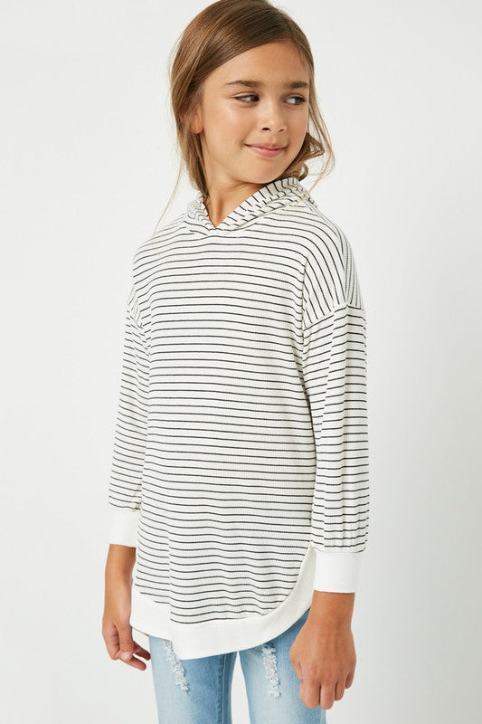 Kids Striped Ribbed Hoodie