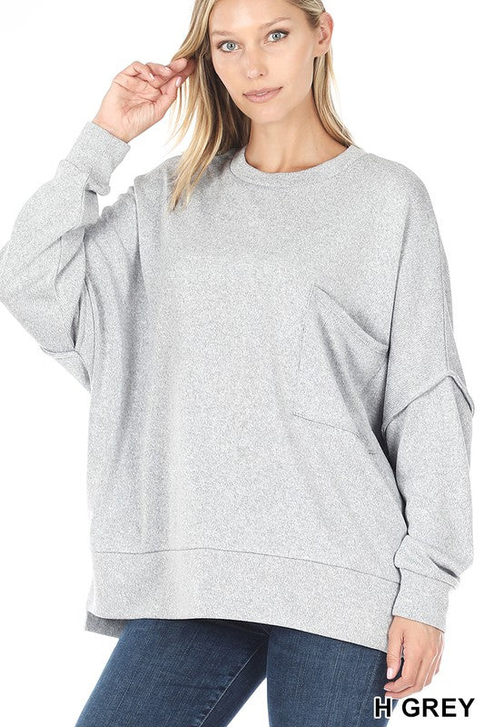 Heather Grey Melange Hi-low Pocket Sweater - Available in XL